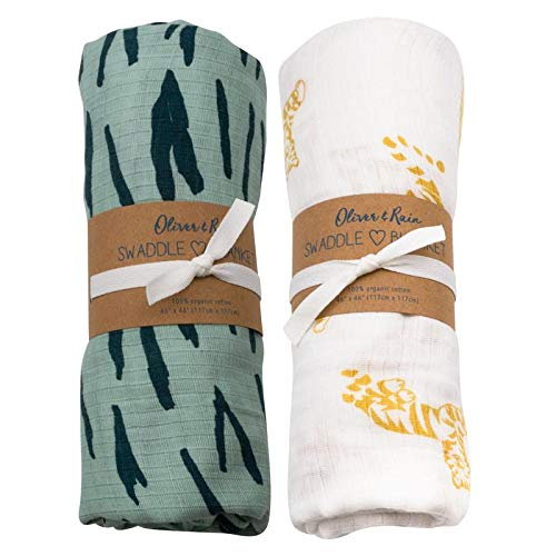 Turquoise Tiger - Oliver & Rain - Organic Cotton Muslin Turquoise Tiger Stripe & Gold Tiger Print Swaddle Sampler, NB, 2-Pack