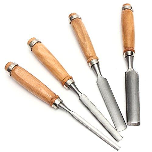 4pcs DIY Wood Gouge Chisel Woodworking Tool Handle Hand Home Carving Set