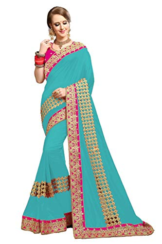 - Nivah Fashion Women's Silk Heavy-Embroidery work sari With Blouse piece K811 (Turquoise)