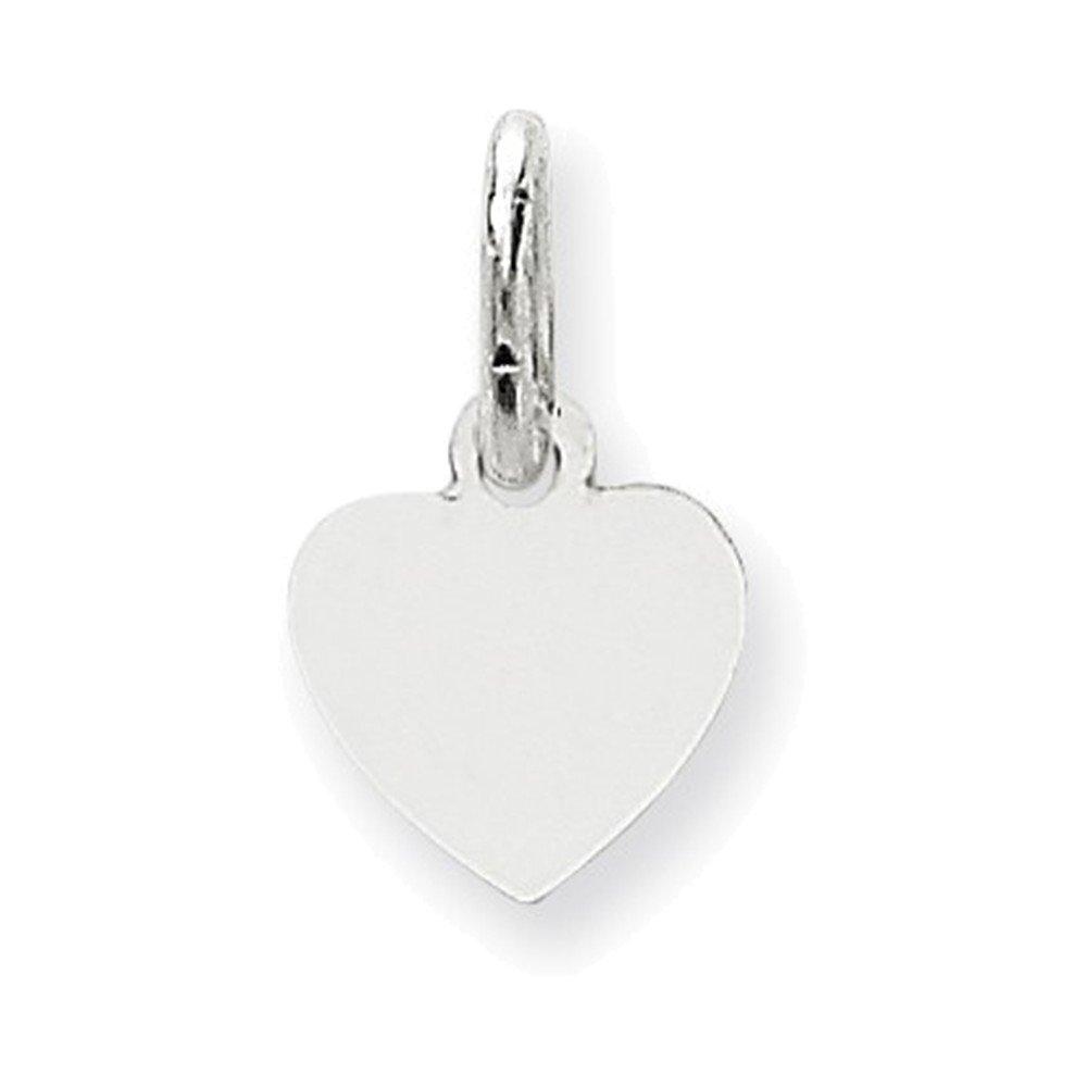 Jewelry Adviser Gifts 14k White Gold Plain .009 Gauge Engravable Heart Charm