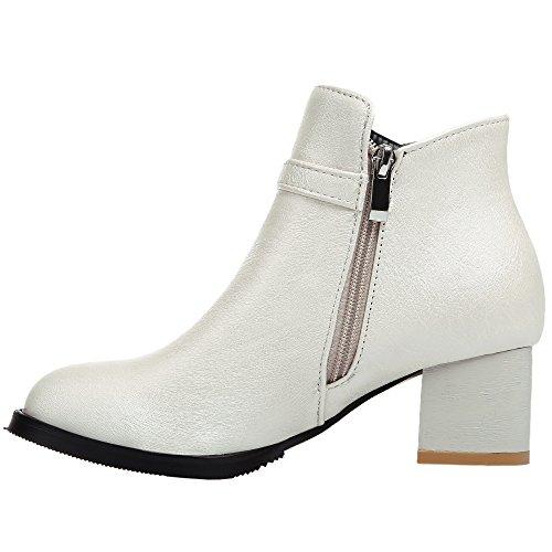 HooH Women Ankle Boots Matte Metal Buckle Kitten Heel Chelsea Boots White hN34OHgYy