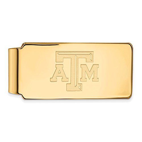 Solid 925 Sterling Silver with Gold-Toned Texas A&M University Money Clip (55mm x 26mm)