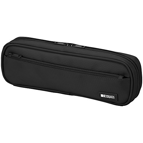 LIHIT LAB Pen Case, 9.4 x 1.8 x 3 inches, Jet Black (A7552-124)