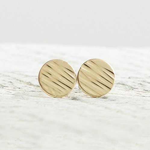Filled Disc Gold (Petite Round Disc Stud Earrings In 14k Gold Filled Jewelry Gift For Women Linen Texture)