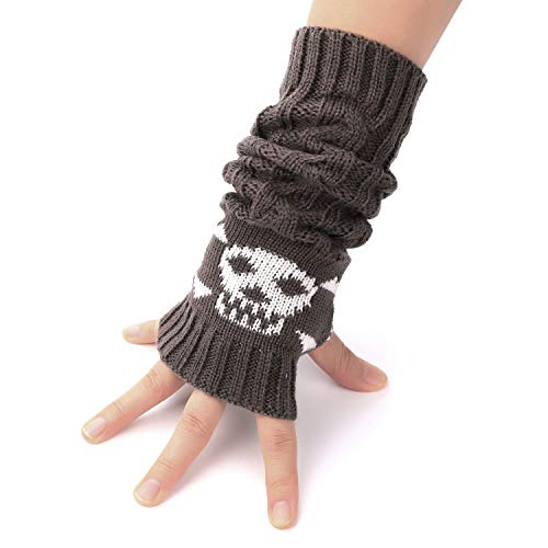 Flammi Cable Knit Fingerless Arm Warmers Thumb Hole Gloves Mittens with Crossbones Jacquard (Dark Grey)]()