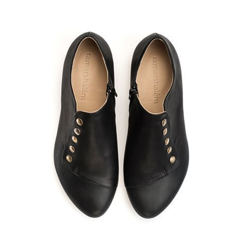 Black leather flats, Grace, Handmade shoes by Tamar Shalem