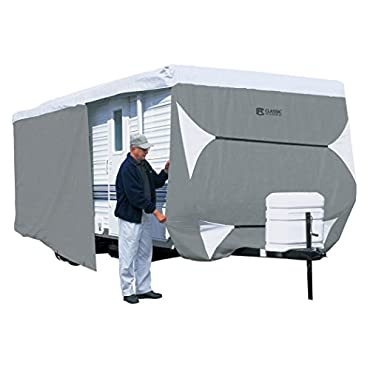 Classic Accessories OverDrive PolyPRO 3 Deluxe Travel Trailer Cover or Toy Hauler Cover, Fits 27' 30' RVs Max Weather Protection with 3-Ply Poly Fabric Roof Travel Trailer Cover (73563)