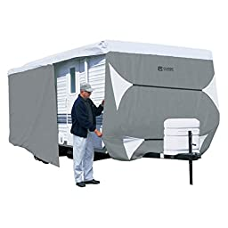 Classic Accessories OverDrive PolyPRO 3 Deluxe Travel Trailer Cover or Toy Hauler Cover, Fits 27\' - 30\' RVs - Max Weather Protection with 3-Ply Poly Fabric Roof Travel Trailer Cover (73563)
