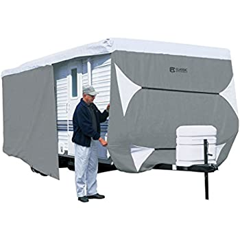 Classic Accessories OverDrive PolyPRO 3 Deluxe Travel Trailer Cover or Toy Hauler Cover, Fits 27' - 30' RVs - Max Weather Protection with 3-Ply Poly Fabric Roof Travel Trailer Cover (73563)