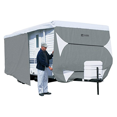 Classic Accessories OverDrive PolyPRO 3 Deluxe Travel Trailer Cover or Toy Hauler Cover, Fits 18' - 20' RVs - Max Weather Protection with 3-Ply Poly Fabric Roof Travel Trailer Cover (73163) (Trailers Toy Rv Haulers)