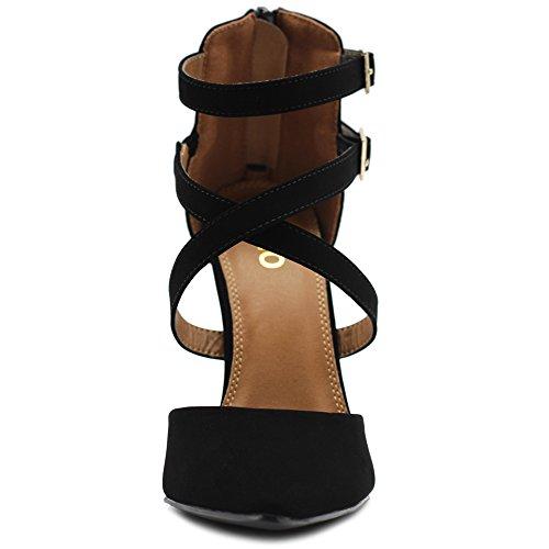 Back Pumps Heel Stiletto Strap Black High Shoes Women Suede Zipper Faux Ollio Cross FqBIPwAA