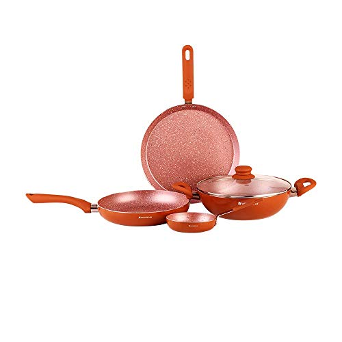 Wonderchef Rose Gold Aluminium Cookware Set, 5 Pieces, Rose Gold
