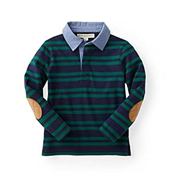 Hope & Henry Boys' Green Blue Striped Long Sleeve Rugby Made Organic Cotton
