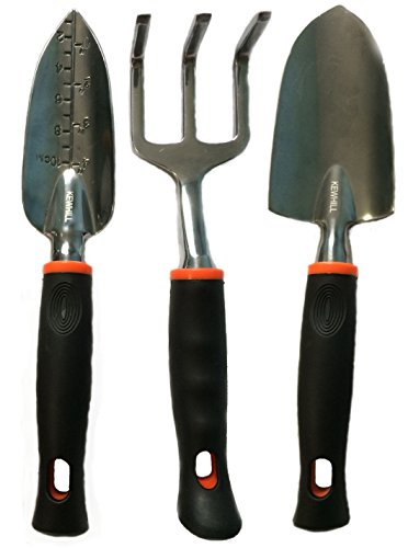 Kewhill Garden Tool Include Trowel, Transplanter (Hand Shovel) and Cultivator, 3 Piece
