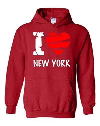 Acacia I Love New York - Most Popular State Series Unisex Hoodie Sweatshirt Large Red