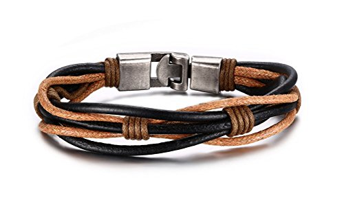 Jewelry Braided Leather Bracelet Black