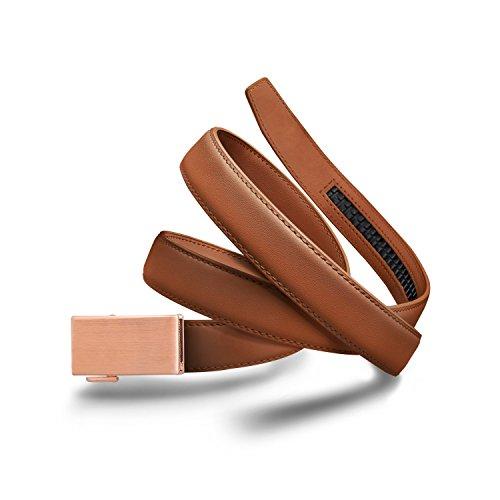 Mission Belt Women's Ratchet Belt - 30mm Rose Gold Buckle/Light Brown Leather Strap, Medium (Up to 33