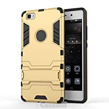 Huawei P8 lite Case, Cocomii Iron Man Armor NEW [Heavy Duty] Premium Tactical Grip Kickstand Shockproof Hard Bumper Shell [Military Defender] Full Body Dual Layer Rugged Cover (Gold)