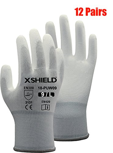 rethane/Nylon Safety WORK Glove,12 Pairs (Large, White) ()