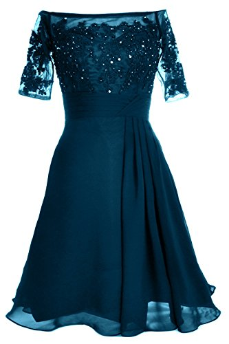 MACloth Women Lace Cocktail Party Gown Off Shoulder Short Mother of Bride Dress (24w, Teal)