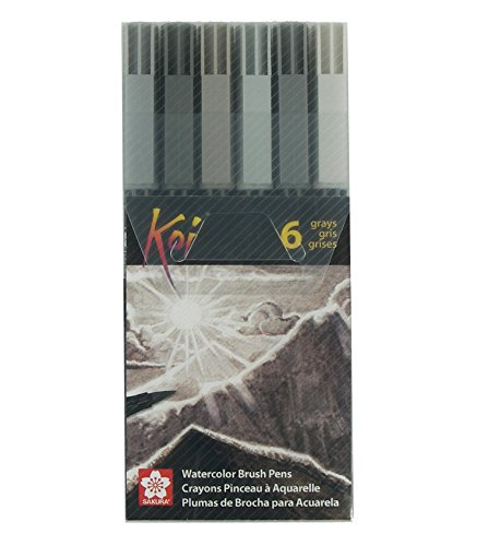 Sakura XBR-6SA 6-Piece Koi Coloring Brush Pen Set, Gray - Line Architectural Marker