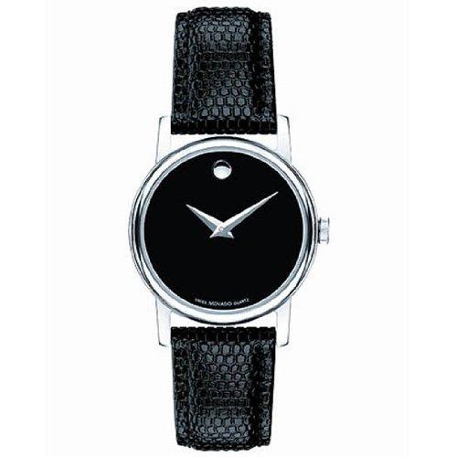 Movado Womens Museum 2100004 Swiss Quartz Black Band Black Dial
