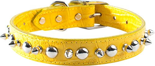 OmniPet Faux Crocodile Signature Leather Pet Collar with Spike and Stud Ornaments, Yellow, 1/2 by 14