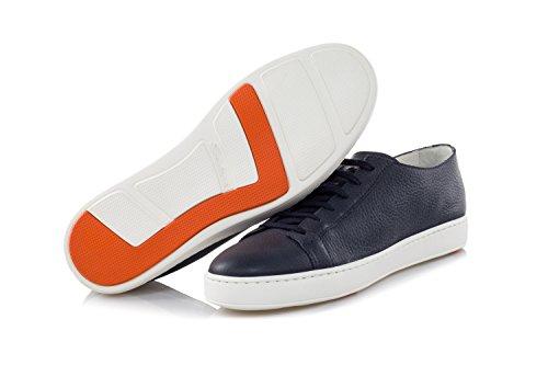 Santoni Herenschoenen Sneakers Gehamerd Leer Blauw