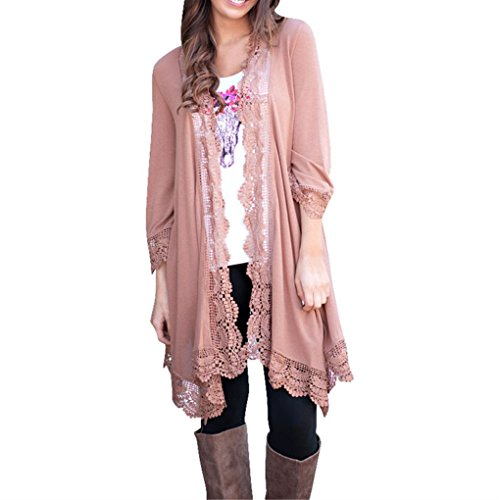 Women Cardigan,Haoricu Womens Open Front Lace Irregular Shawl Kimono Cardigan Tops Cover Up Blouse (XL, Pink) Lace Kimono