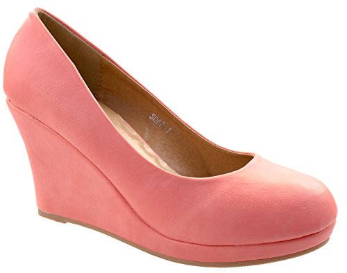 Slip Low Wedge Pumps Almond Soap Coral Toe 1 Moda On Women's Classic Heel Top wq01H