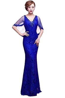 Vimans® Women's Long Royal V Neck Beaded Cape Style Mermaid Formal Dresses