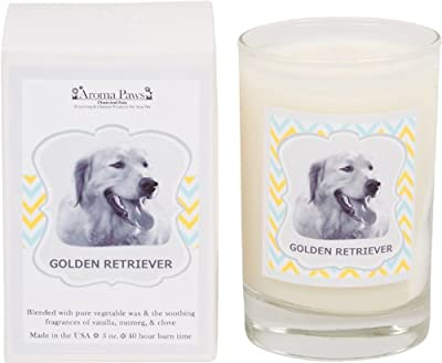 Aroma Paws Aromatic Dog Candle with Gift Box - for Canine Pet Odors, Vanilla Nutmeg Clove Scent - Cotton Wick Handcrafted - Soy Wax - Reusable, Recyclable Jar - 5 Oz.