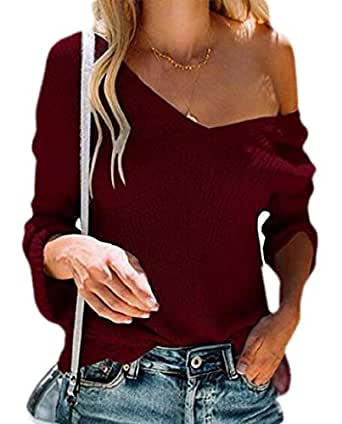 Women's Sweater V Neck Long Sleeve Waffle Knit Jumper Pullover Sweater 1 L
