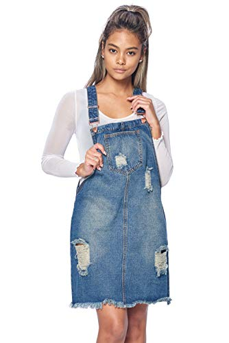 TwiinSisters Women's Casual Denim Destroyed Overall Skirt Dresses for Women Plus