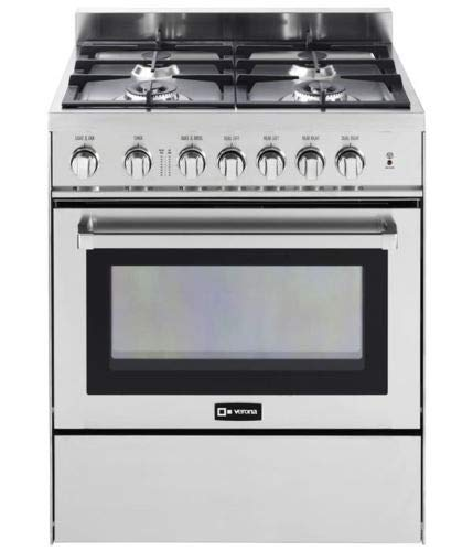 Verona VEFSGG304NSS 30″ Freestanding All Gas Range 4 Sealed Burners Convection Oven Storage Drawer Stainless Steel