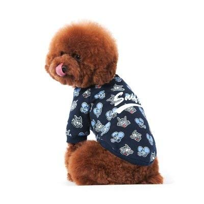 Navy L Navy L Party Pet Costume Pet Supplies Misc New pet clothes autumn and winter dog sweater letters figure fashion embroidery coat pet supplies (color   Navy, Size   L) Pet Uniform ( color   Navy , Size   L )