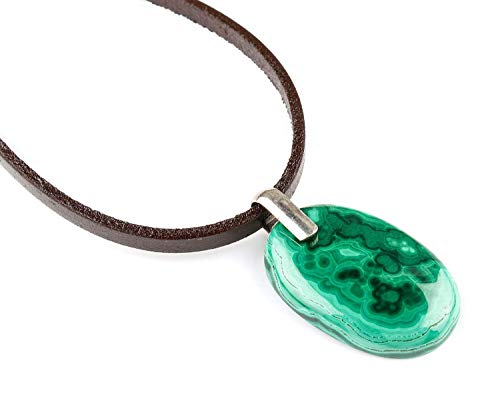 Malachite Gemstone Sterling Silver Pendant Locket Handmade Brown Genuine Leather Cord Necklace Jewelry Mid-spring April-May Birthstone ()