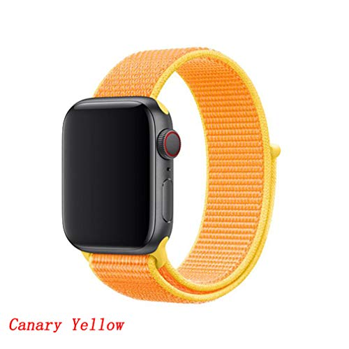 GJFLUglka Strap for Apple Watch Band 44 Mm 38Mm Nylon Apple Watch 4/3/2/1 Iwatch Band 42Mm 40Mm Sport Loop Bracelet Watchband Canary Yellow 38-40mm