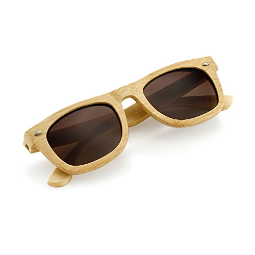 Polarized Genuine Bamboo lightweight Wood Entire Frame Vintage Handcraft Sunglasses Mens Womens Eyewear with Wooden Bamboo box - ()