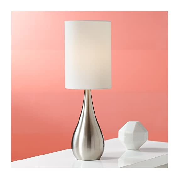 "Modern Accent Table Lamp Brushed Steel Metal Teardrop White Cylinder Shade for Living Room Family Bedroom Office - 360 Lighting - 21"" high overall. Base is 3 1/2"" wide. Shade is 7"" across the top and bottom x 10"" high. Weighs 1.9 lbs. Uses one maximum 100 watt standard base bulb (not included). Push on-off switch below the socket. Metal table lamp with teardrop droplet shape. The design is from the 360 Lighting brand. - lamps, bedroom-decor, bedroom - 41C7ePqTaoL. SS570  -"