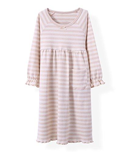 Girls' Lace Nightgowns & Bowknot Sleep Shirts 100% Cotton Sleepwear ,11-12 Years,Round Lace Pink