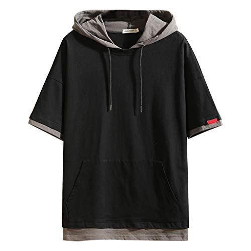 Danhjin Men Casual Solid Hooded Tops Short Sleeve Tee T Shirt Blouse with Kangaroo Pocket - Banded Scarf Print Dress