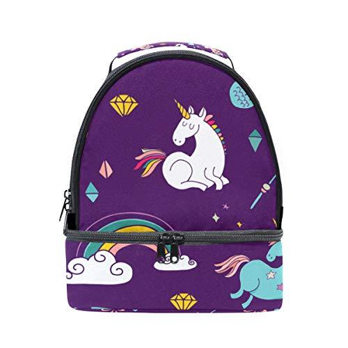 Alinlo coloré Unicorn Motif Boîte à lunch Sac isotherme Cooler Tote avec bandoulière réglable pour Pincnic à l'école