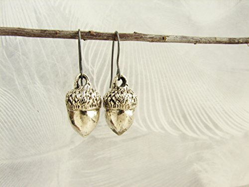 Acorn Drop Earrings (Acorn earrings, Silver acorn earrings, realistic acorn earrings, unexpected miracles, magical acorns)