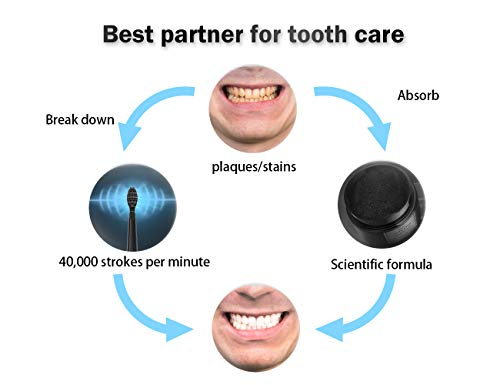 Electric Toothbrush with Activated Charcoal, Best Partner for Tooth Whitening, Sboly Sonic Electric Toothbrush USB Rechargable 4 Hours Fast Charge 30 Days Use, Natural Tooth Powder