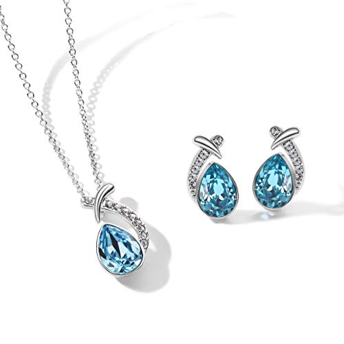T400 Jewelers Blue Waterdrop Pendant Necklace & Stud Earrings Jewelry Sets Made with Swarovski Elements Crystal Love Gift