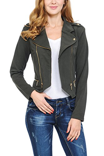 - Keebon Womens Modern Casual Asymmetrical Long Sleeve Zip Up Moto Jacket Dk Olive Large