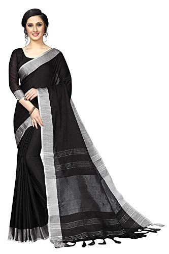 Regolith Designer Sarees Women's Banarasi Linen & Cotton Saree With Blouse Piece