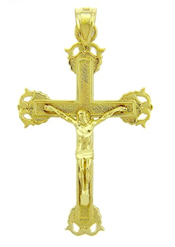 Solid 14k Yellow Gold Blessed Cross Charm Christian Crucifix Pendant