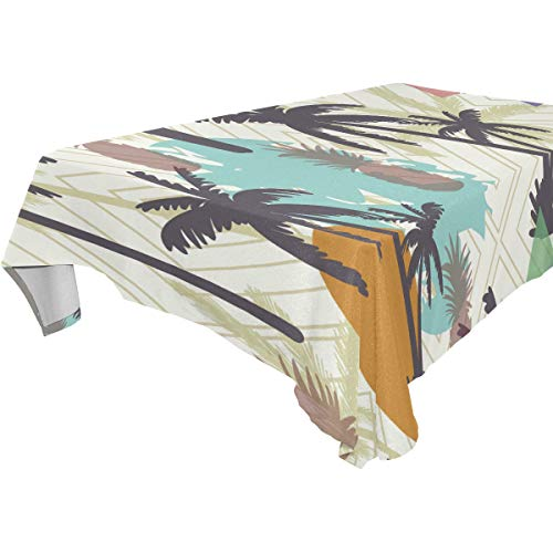 Decorative Table Cloth Palmetto Tree Pattern Pineapple Dining Room Kitchen Rectangular Fabric Table Cover 54 x 72 Inches Party